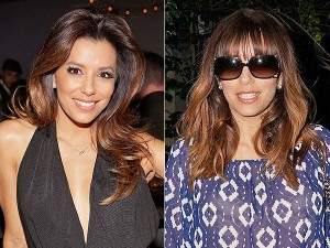 Eva Longoria Before-After Bangs