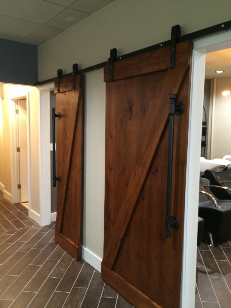 Barn Door Entrances to Shampoo Lounge